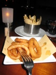 Fries and rings, perfectly prepared.